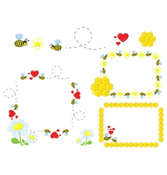 Frames with bees vector