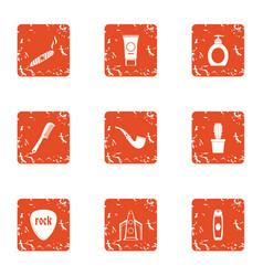 Fume icons set grunge style vector