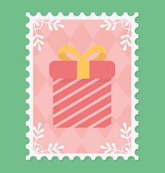 gift box surprise snowflakes merry christmas stamp vector image