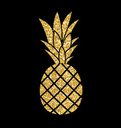 Gold glitter pineapple summer concept background vector