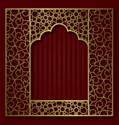 golden patterned frame in oriental arched window vector image