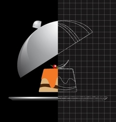Gourmet food on a silver plate and serving dome vector image vector image