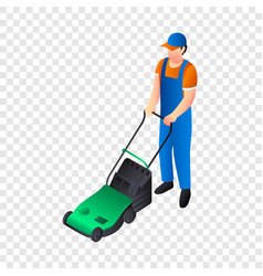 Green lawnmower icon isometric style vector