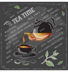 Green Tea Time card with cup teapot and spoon vector