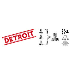 Grunge detroit line stamp and collage organization vector