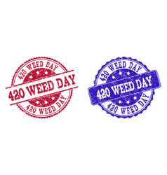 Grunge scratched 420 weed day seal stamps vector