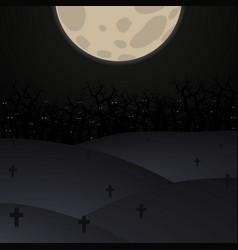 halloween poster background foggy landscape of gr vector image