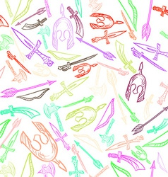 Hand Drawn Weapons Seamless Pattern vector image