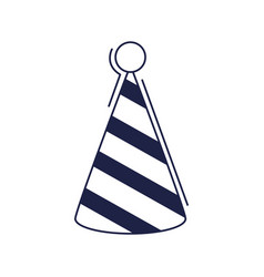 Happy birthday striped party hat decoration vector