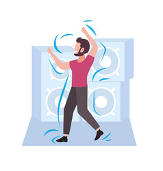 happy casual man dancing male dancer enjoying vector image