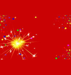 Happy new year red background with bengal fire vector