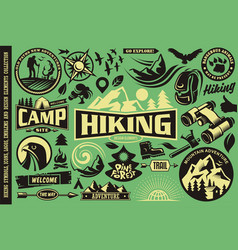 hiking design elements set vector image