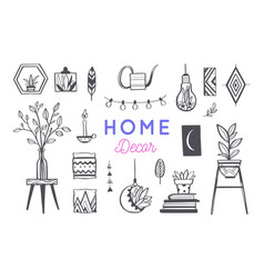 home decor and house plants hand drawn set vector image