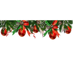 horizontal banner with christmas tree garland vector image