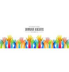 Human rights day banner of diverse people hands vector