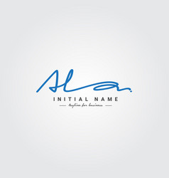 Initial letter al logo - handwritten signature vector
