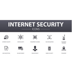 Internet security simple concept icons set vector