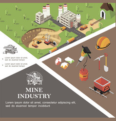 isometric mining industry colorful template vector image