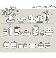 Kitchen utensils on shelves 8 vector image