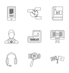 Language learning icons set outline style vector image