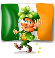 Leprechaun and Irish flag vector
