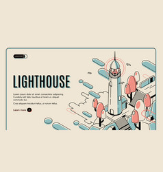 lighthouse building on retro colored background vector image