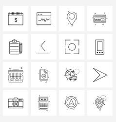 Line icon set 16 modern symbols clipboard vector