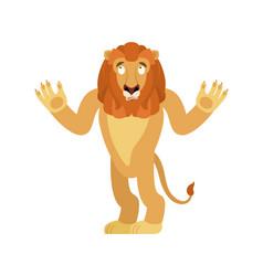 lion confused emoji wild animal is perplexed vector image