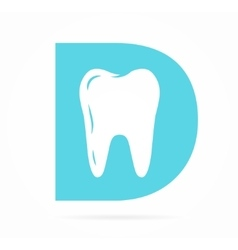 Logo combination of D letter and tooth vector image
