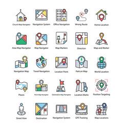 Map and navigation flat icons set vector