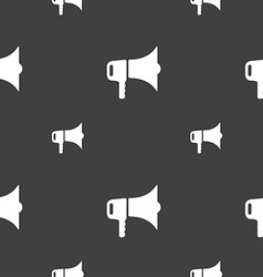Megaphone icon sign Seamless pattern on a gray vector
