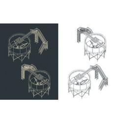 mining thickener tank isometric blueprints vector image