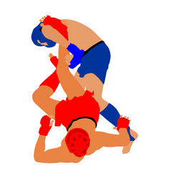 mma fighters mixed martial arts battle wrestling vector image