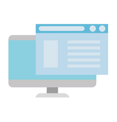 Monitor computer with webpage template vector