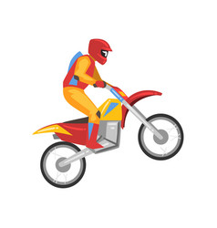 motorcyclist motocross racing motorbiker male vector image