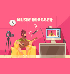 musical video blog background vector image