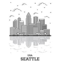 outline seattle washington usa city skyline with vector image