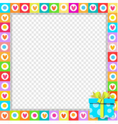 photo border made of cute hearts with blue vector image