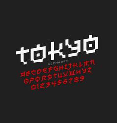 Pixel japanese style latin font vector