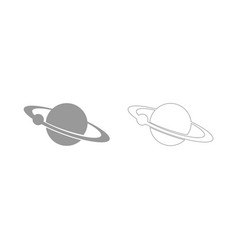 Planet with satellite on the ring the grey set vector