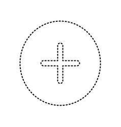 Positive symbol plus sign black dashed vector