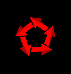recycle arrow symbol with pentagonal or pentagram vector image