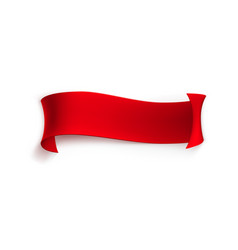 Red ribbon banner from ribbons or paper vector