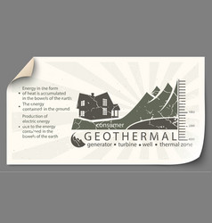 Renewable energy from geothermal paper vector