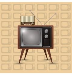 Retro tv emblem image vector