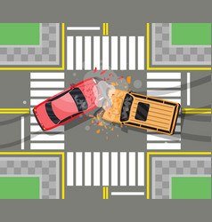 Road accident between two cars vector