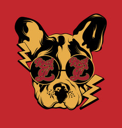 rock on hand drawn bulldog in vector image