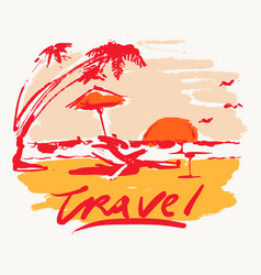 seaside view beach sunset vacation travel vector image