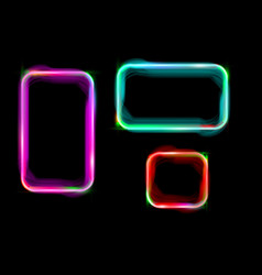 Set colorful neon shiny glowing vintage frame vector