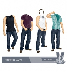 Set headless guys isolated vector